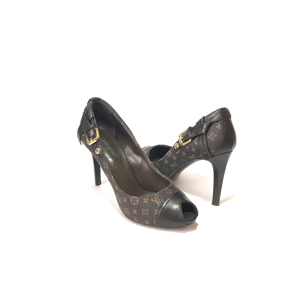 Louis Vuitton Brown Monogram Peep Toe Pumps | Gently Used |