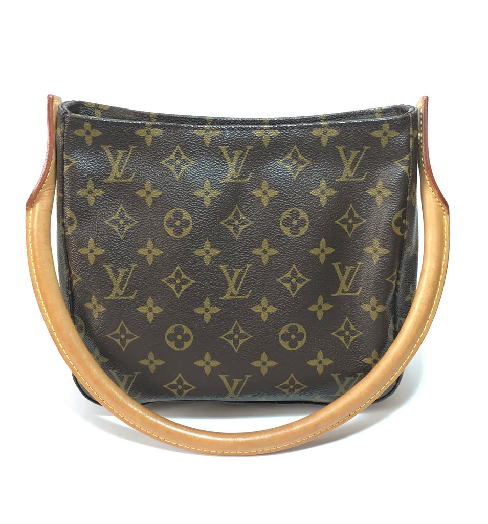 Louis Vuitton Brown Monogram Canvas Leather Looping MM Shoulder Bag | Like New |