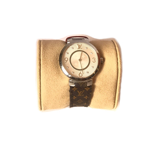 Louis Vuitton 'TAMBOUR' Diamond Monogram Watch | Like New |