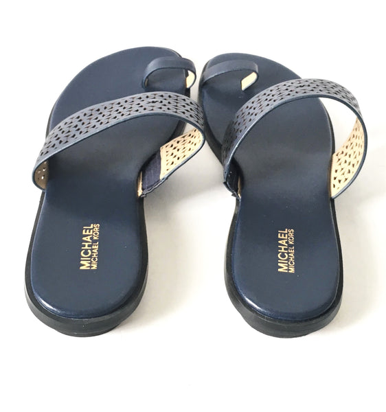 MICHAEL Michael Kors Navy Blue Leather 'Sonya' Toe Ring Sandals | Brand New |
