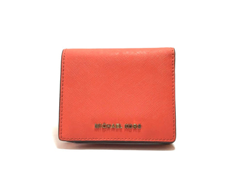 Michael Kors Orange Leather Bi-fold Wallet | Pre Loved |
