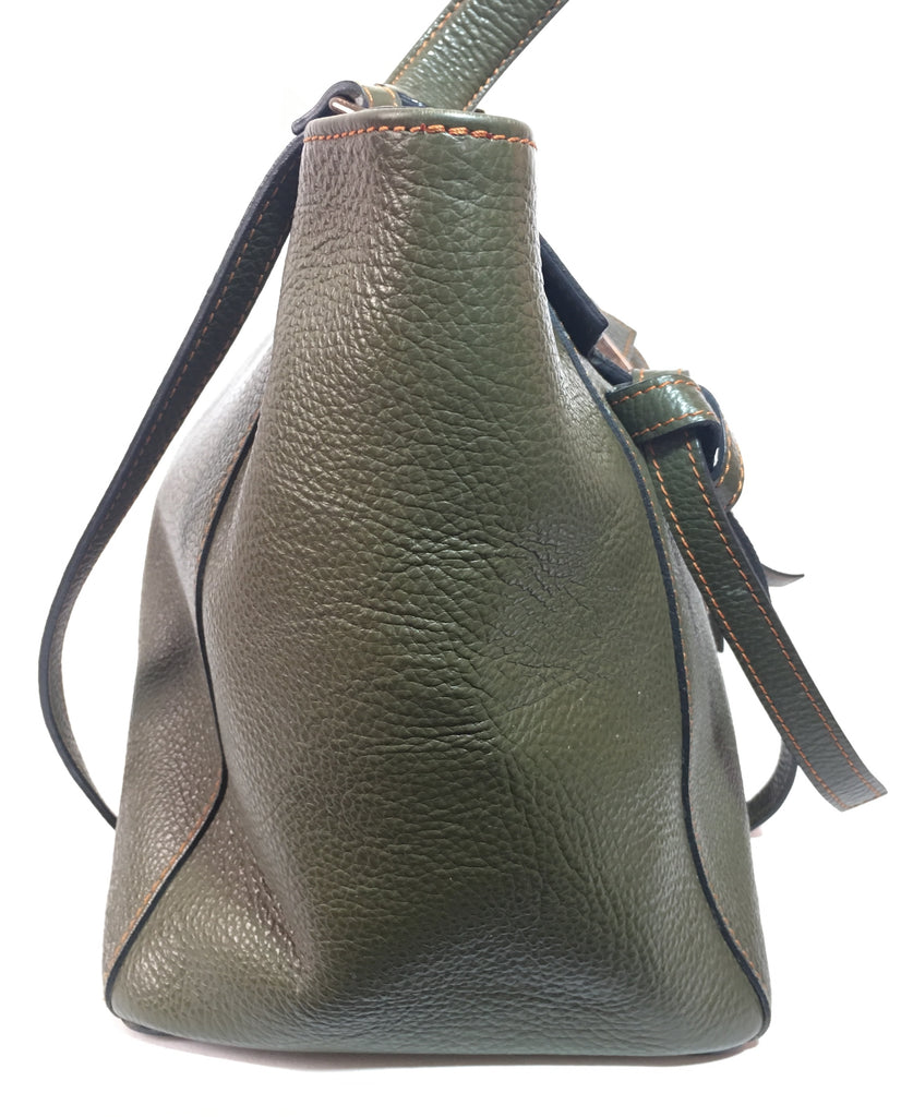 Mario Valentino Olive Green Leather Tote | Pre Loved |