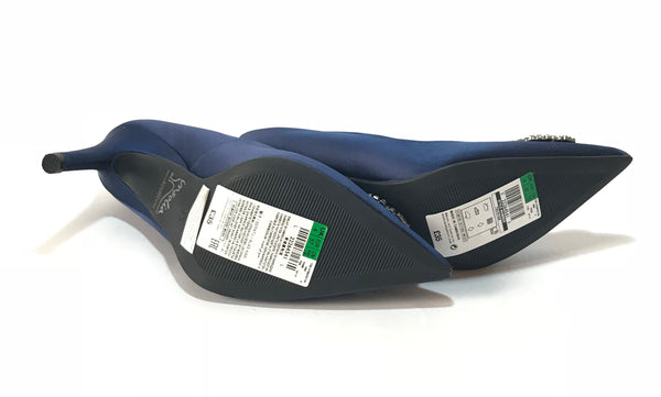 Marks & Spencer Rhinestone Cobalt Blue Satin Heels | Brand New |