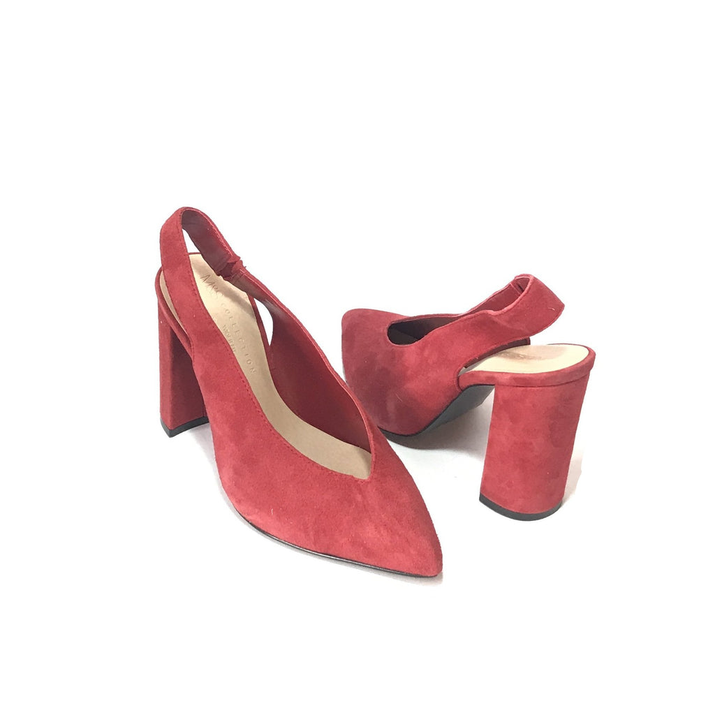 Marks & Spencer Red Pointed Suede Sling Back Mules | Like New |