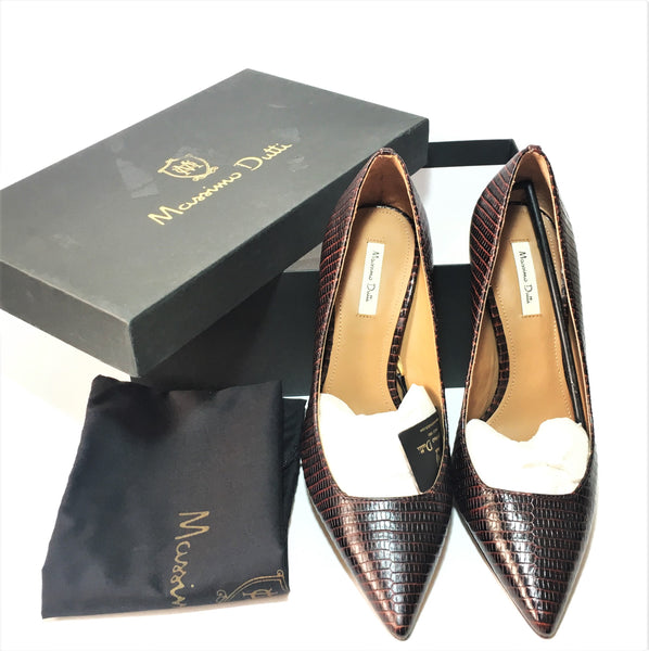 Massimo Dutti Brown Textured Leather Pointed Pumps | Brand New |