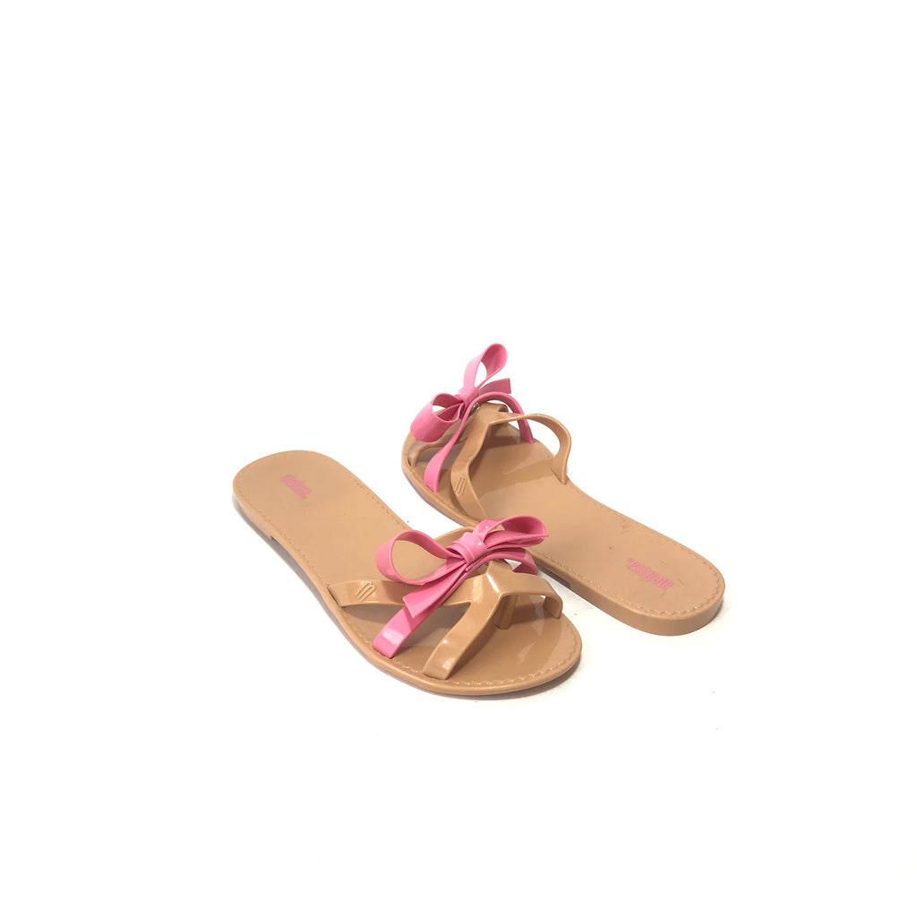 Melissa Beige & Pink Bow Sandals | Like New |