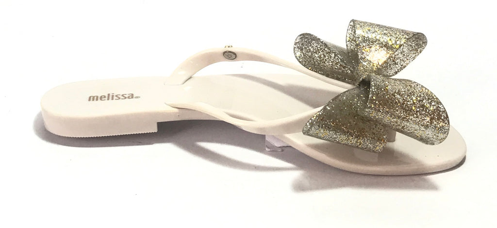 Melissa Cream & Gold Glitter Bow Sandals | Like New |