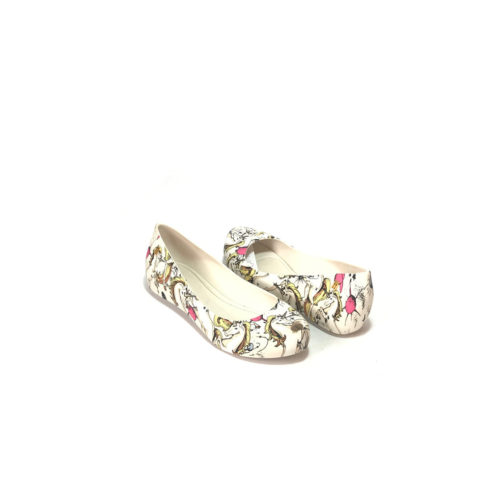 Melissa White Unicorn 'Ultragirl' Ballet Flats | Like New |
