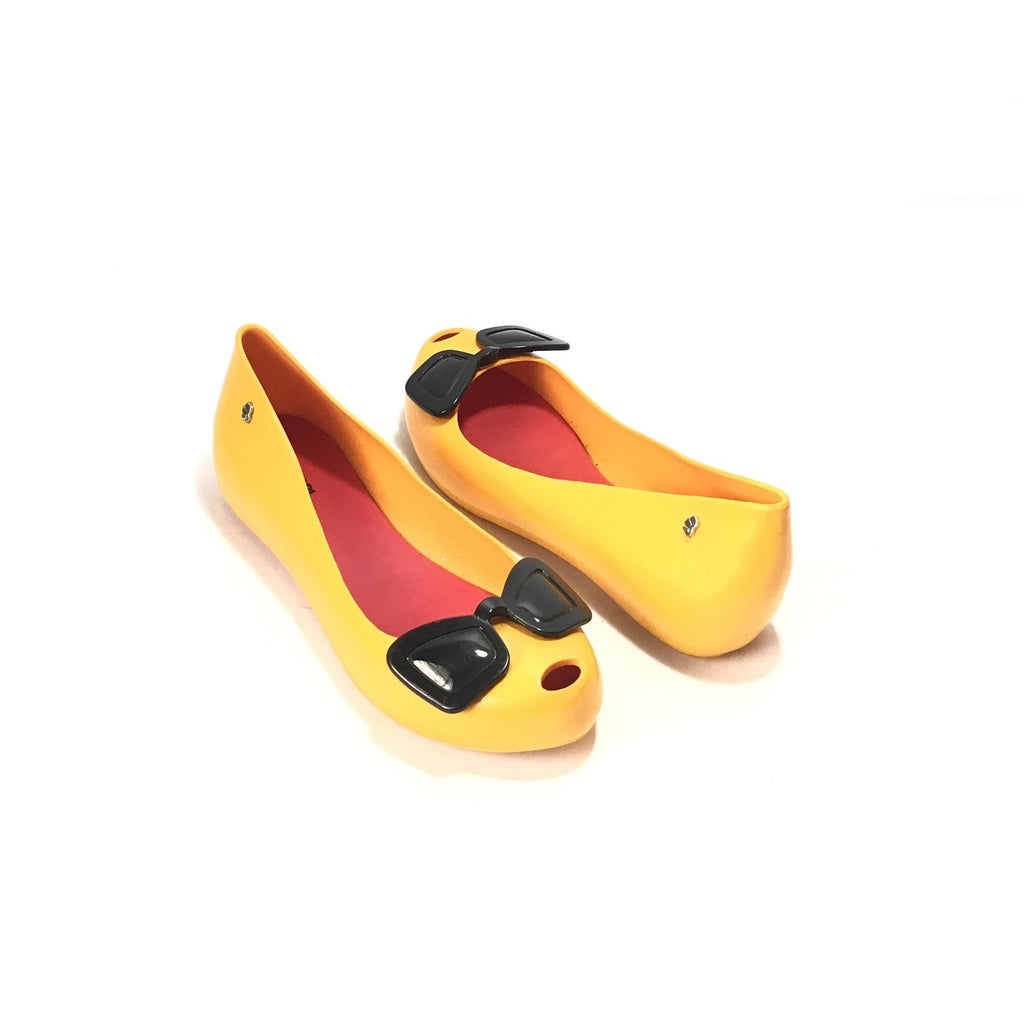 Melissa x Karl Lagerfeld Yellow Sunglasses Ballet Flats | Like New |
