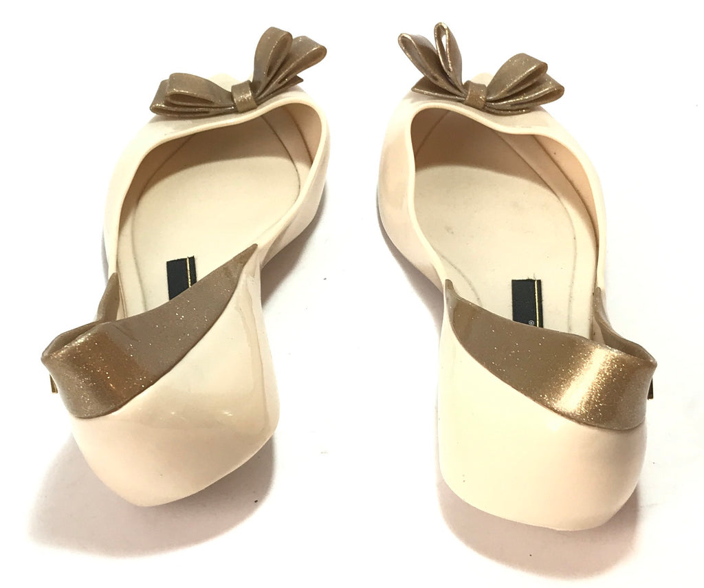 Melissa Beige with Gold Glitter Bow Peep-Toe Ballet Flats | Like New |