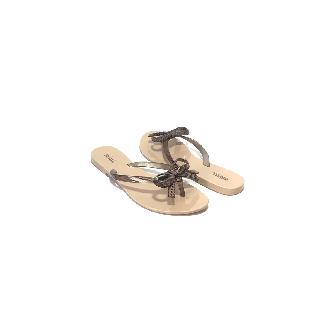 Melissa Beige & Chrome Bow Jelly Sandals | Like New |