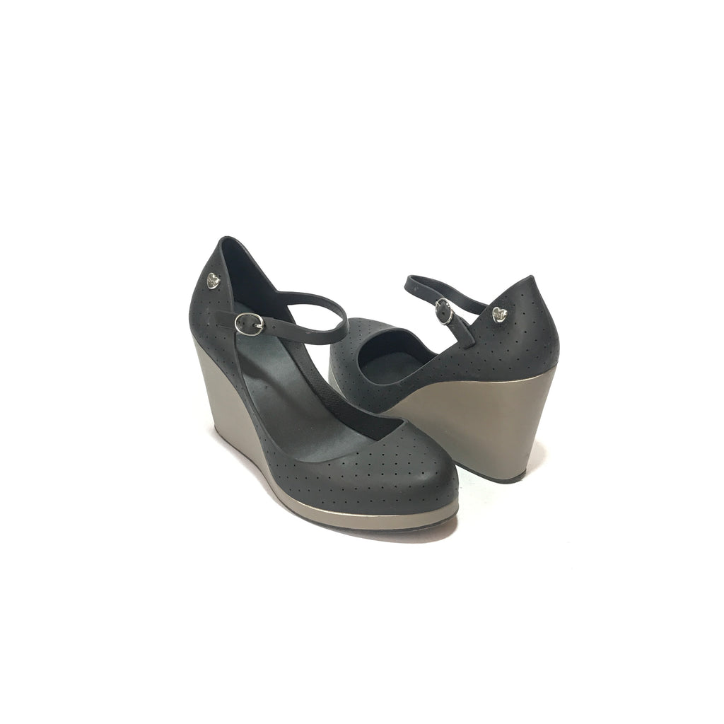 Melissa 'Popstar' Grey & Black Wedges | Like New |
