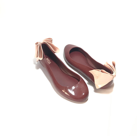 Melissa Maroon Space Love Bow Ballet Flats | Like New |