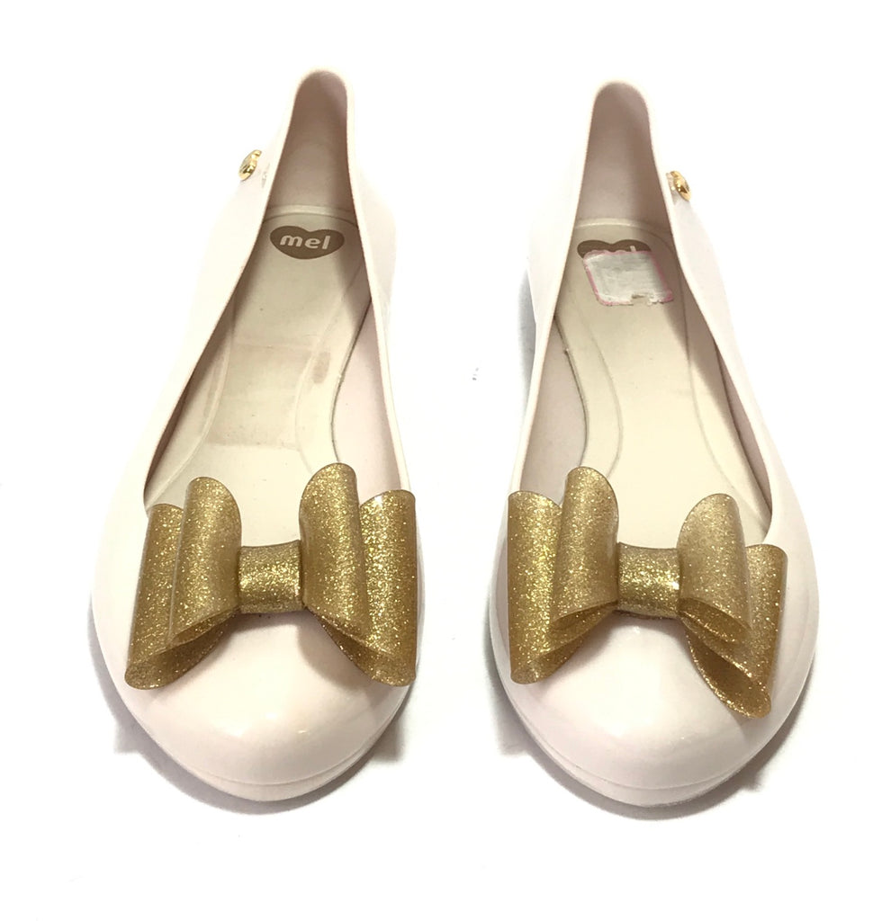 Melissa Pearl & Gold Bow Ballet Flats  | Gently Used |