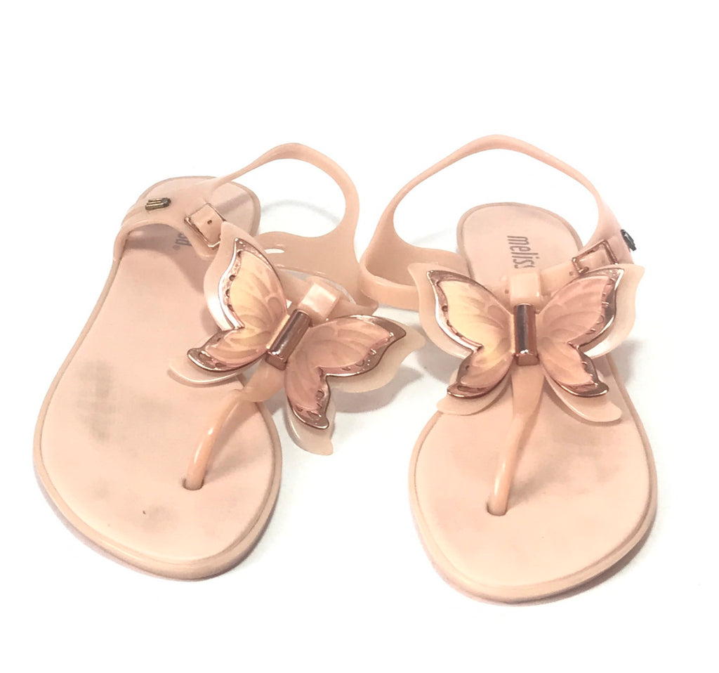 Melissa Nude Pink Butterfly Thong Sandals | Pre Loved |