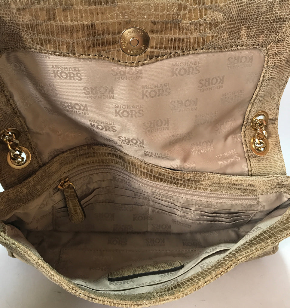 Michael Kors Beige Snakeskin Leather Shoulder Bag   Gently Used ... 979bd076e8