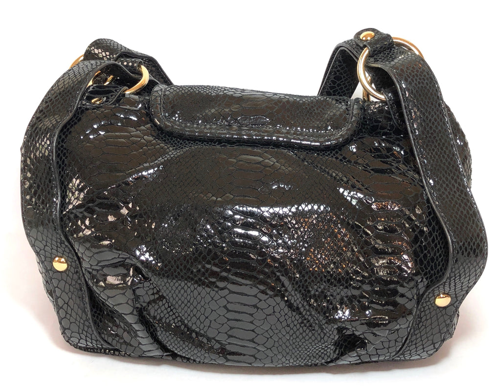 Michael Kors Black Metallic Snakeskin Leather Front Flap Shoulder Bag   Gently  Used   58de944ac9