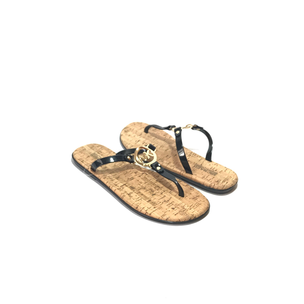 Michael Kors Black Leather & Logo Jute Sandals | Brand New |