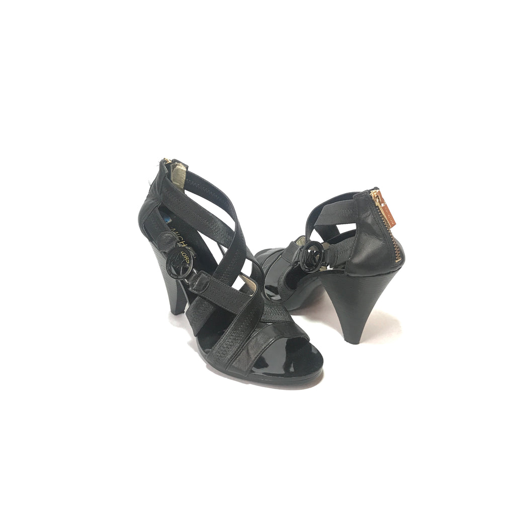 Michael Kors Black Leather Multi Strap Heels | Pre Loved |