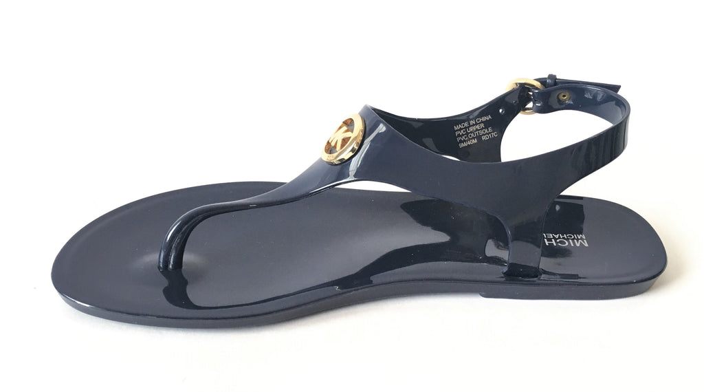 MICHAEL Michael Kors Navy Blue Jelly Thong Sandals | Gently Used |