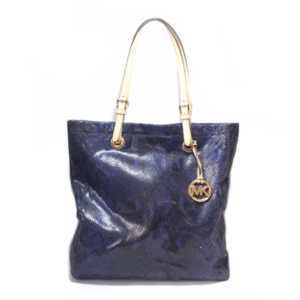 Michael Kors Blue Snakeskin Embossed Shoulder Bag   Pre Loved ... e6df8007aa