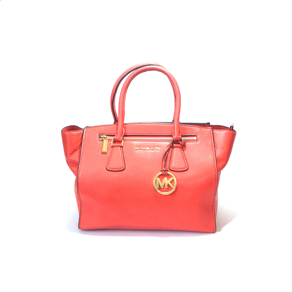 Michael Kors Coral Leather Tote | Like New |
