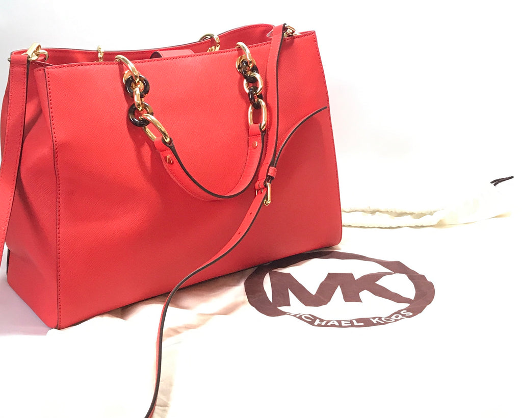 Michael Kors 'CYNTHIA' Coral Leather Satchel | Like New |