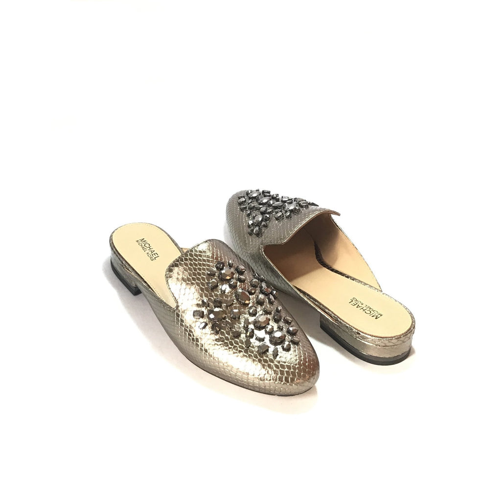 Michael Kors EDIE Metallic Slides | Like New |