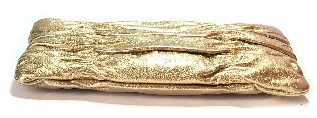 Michael Kors Gold Crinkled Leather Clutch | Like New |
