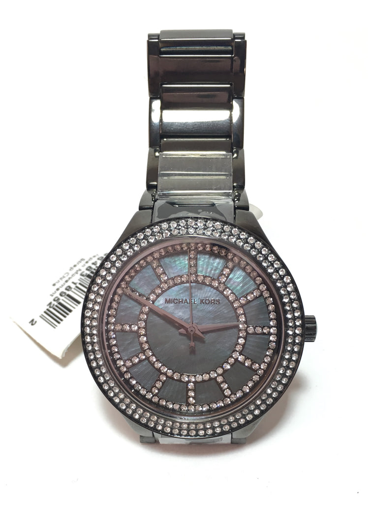 Michael Kors Gunmetal Grey MK3410 Rhinestone Watch | Brand New |