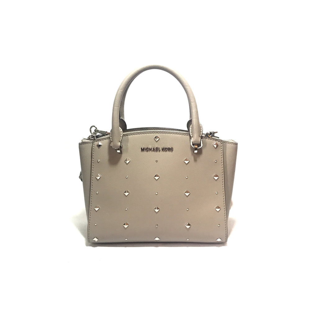 Michael Kors Small Grey Stud Selma Satchel | Gently Used |