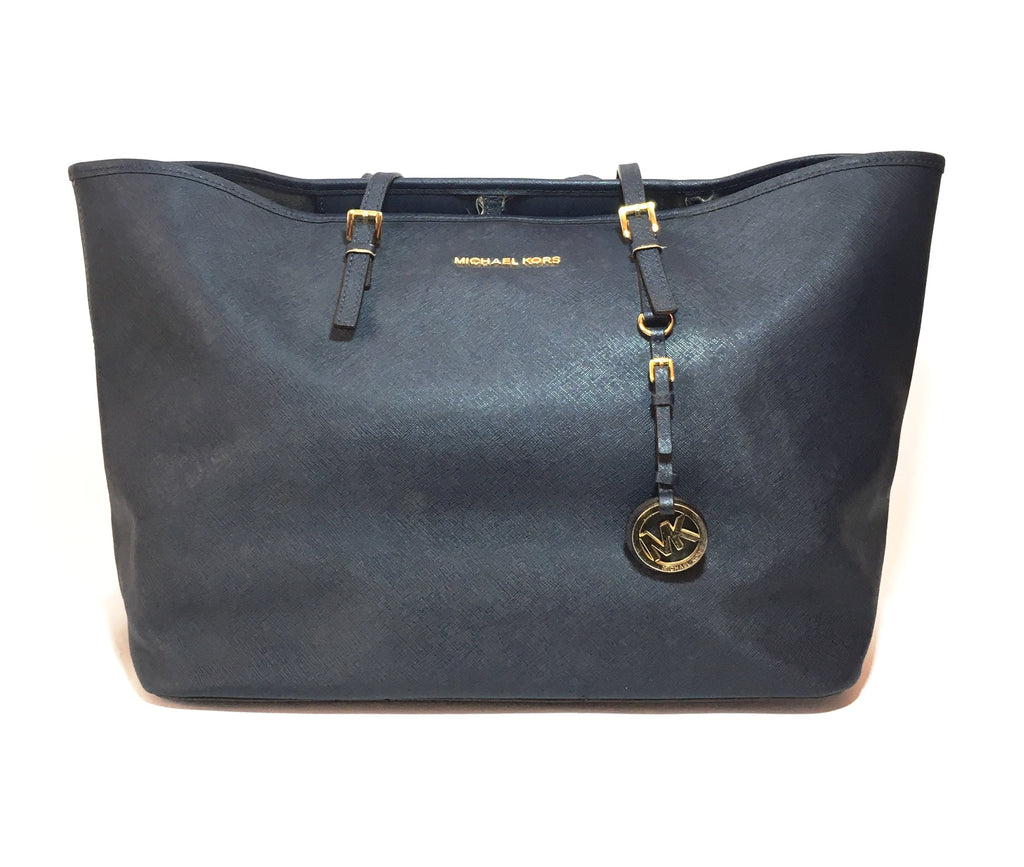 Michael Kors Jet Set Navy Saffiano Leather Tote | Pre Loved |