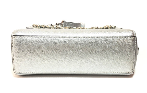 Michael Kors 'AVA' Silver Jewelled Leather Crossbody  | Brand New |
