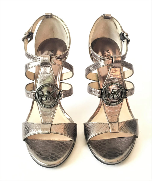 Michael Kors Pewter Snakeskin Ankle Strap Sandals | Gently Used |