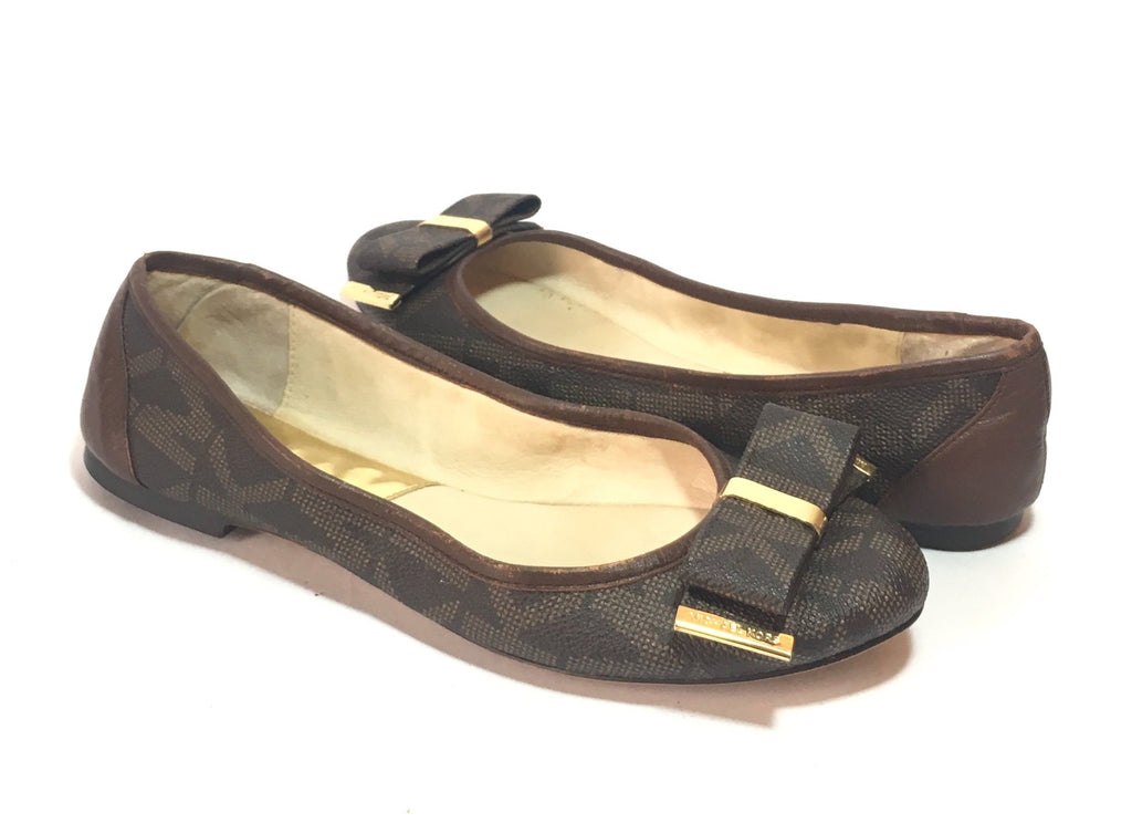 Michael Kors 'Kiera' Monogram Bow Flats | Pre Loved |
