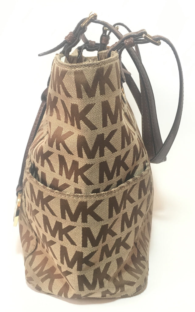 MICHAEL Michael Kors Monogram Canvas Beige Tote | Pre Loved |