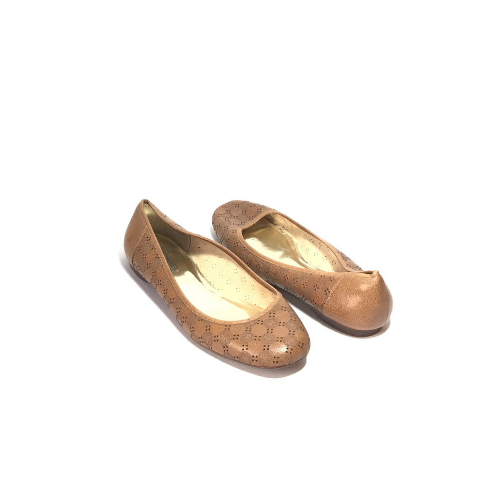 Michael Kors Tan Leather Laser Cut BALLET FLATS | Pre Loved |