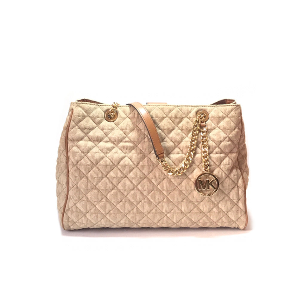 97f72369634d Michael Kors 'Susannah' Large Quilted Monogram Fabric Bag   Gently Used