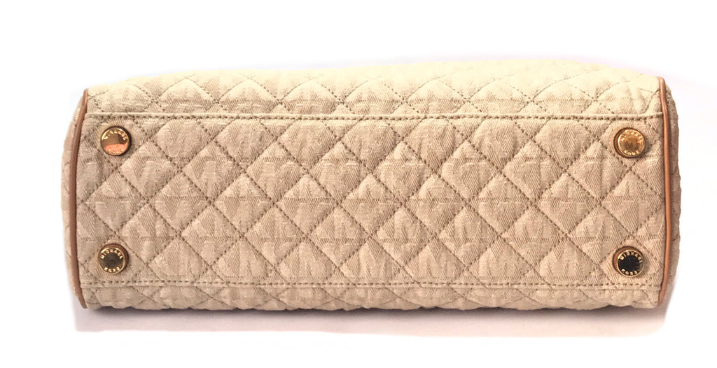 Michael Kors 'Susannah' Large Quilted Monogram Fabric Bag | Gently Used |