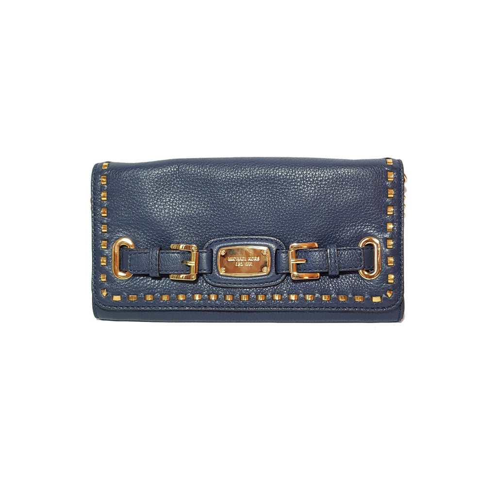 Michael Kors Navy & Gold Studs Shoulder Bag | Gently Used |