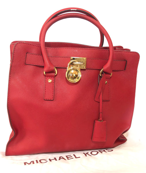 Michael Kors Red Large Hamilton Lock Tote Bag  | Pre Loved |