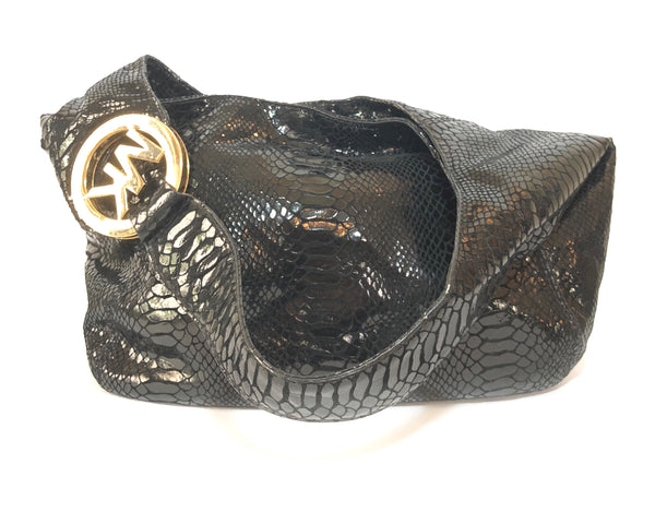 Michael Kors Black Metallic Snakeskin Leather Shoulder Bag | Gently Used |
