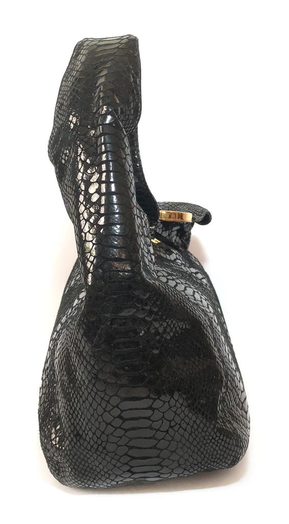 Michael Kors Black Metallic Snakeskin Leather Shoulder Bag   Gently Used   0f3686560e