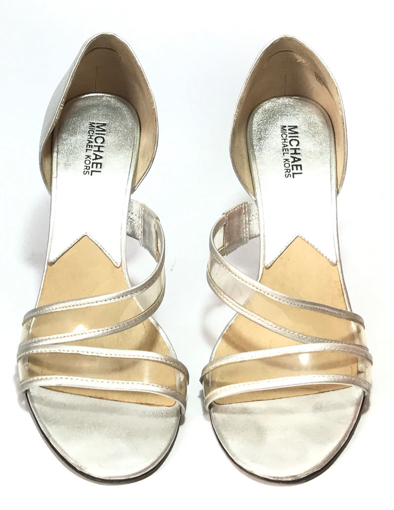 Michael Kors Silver Leather Heels | Pre Loved |