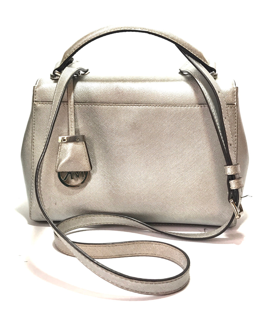 Michael Kors Silver Leather Satchel | Pre Loved |
