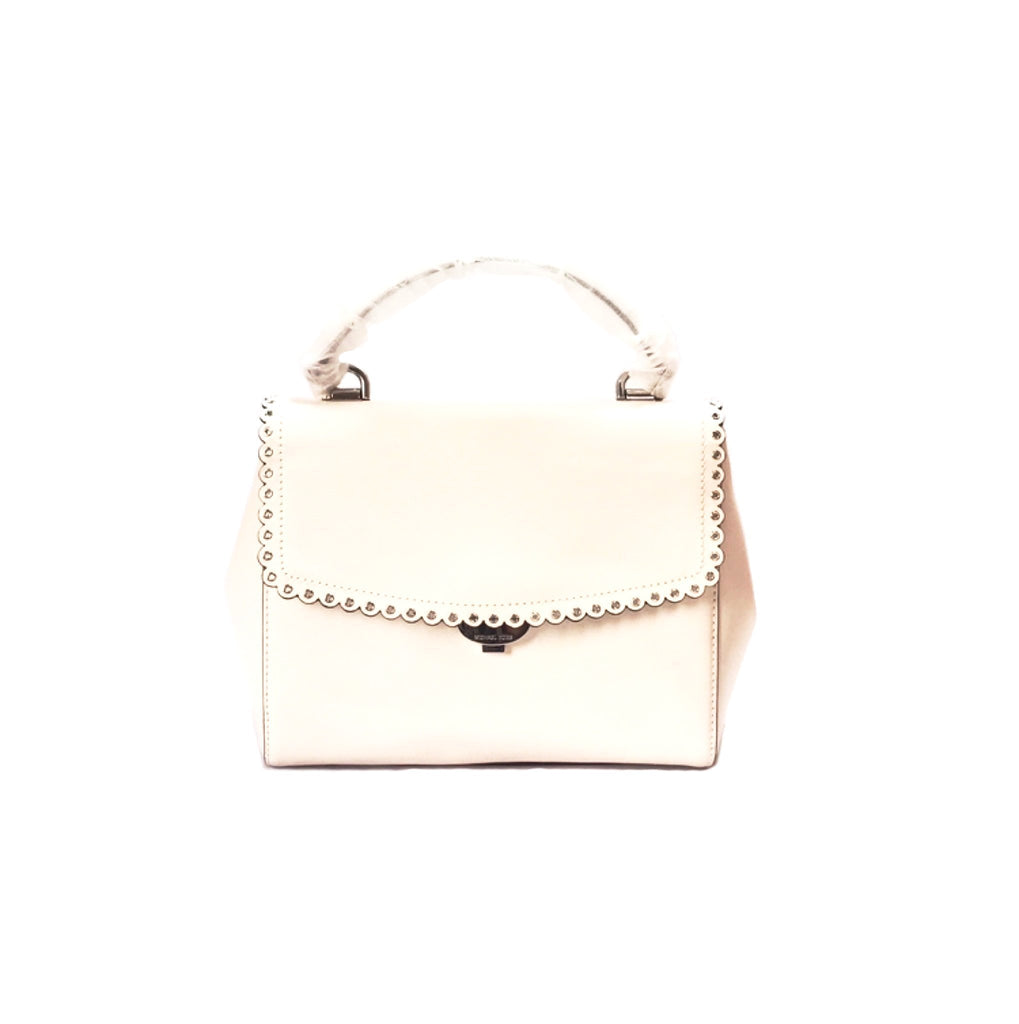 Michael Kors White Leather AVA Scalloped Medium Tote | Brand New |