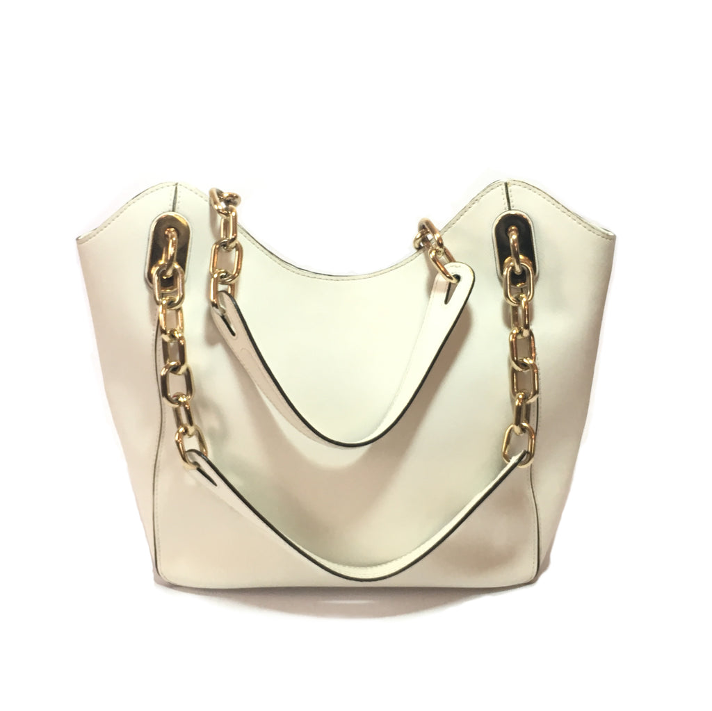 926c82da08 Michael Kors White Leather with Gold Chain Shoulder Bag