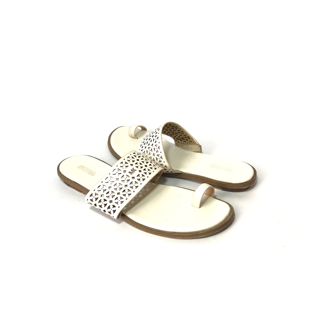 Michael Kors White Leather Toe Sandals | Pre Loved |