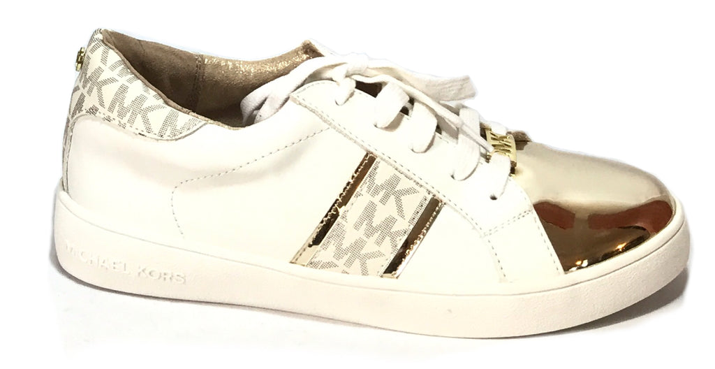 Michael Kors White & Gold Sneakers | Brand New |