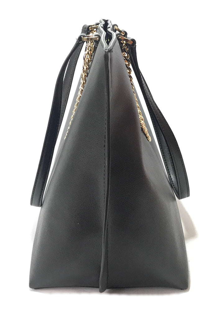 Michael Kors 'Janine' Black Leather & Gold Chain Tote  | Brand New |
